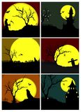 Halloween Set. Six different Halloween scenes. A grim reaper, a castle and tree with sculls, howling dog and pumpkins, scarecrow, howling dog and graves, large Stock Photography
