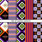 Halloween set of abstract seamless patterns,. Collection of seamless patterns in the traditional holiday colors Royalty Free Stock Image