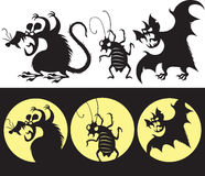 Halloween set of angry rat, bat and cockroach silhouette Stock Image