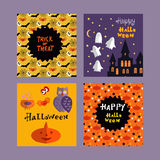 Halloween set. Background holiday design.Halloween design.Template   Halloween  cards. Halloween haunted castle, trees,owl,pumpkin, bats, and star. Vector Stock Photo