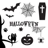 Halloween set. All Hallows` Eve, All Saints` Eve. Vector illustration royalty free illustration