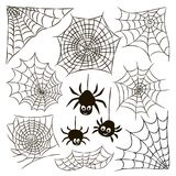 Halloween set of black spider web and three spiders isolated on Royalty Free Stock Photo
