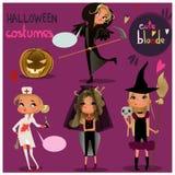 Halloween set. Cartoon girl in halloween costume vector illustration