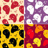 Halloween Set. Collection of seamless patterns with ghosts. background with cartoon ghosts Royalty Free Stock Images