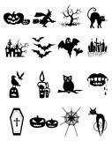 Halloween. Set of different icons in black Stock Images