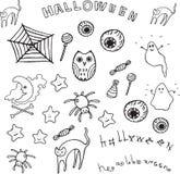 Halloween set. Doodle collection of cartoon elements Stock Photos