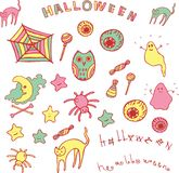 Halloween set. Doodle collection of cartoon elements Royalty Free Stock Image