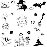 Halloween set in doodle stock Royalty Free Stock Image