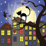 Halloween set of element. Halloween cat on tree night moon stars Stock Images