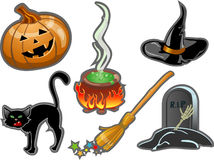 Halloween set elements Stock Photos