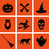 Halloween set. EPS,JPG. Pumpkin, hat, ghost, broom, witch, owl, bone, skull and black cat as icons for Halloween illustrations. Black Halloween set on a orange Royalty Free Stock Image