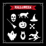 Halloween set. EPS,JPG. Pumpkin, hat, ghost, broom, witch, owl, bone, skull and black cat as icons for Halloween illustrations. White Halloween set on a black Stock Photography