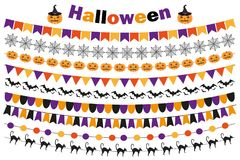 Halloween set of festive decorations flags, bunting, garland. Collection of elements for your design.  on white Stock Images