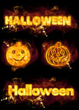 Fire Halloween Set. Halloween fire text and flaming pumpkins Stock Images