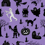 Halloween set with funny characters, seamless Stock Image