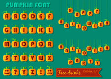 Halloween Set. Funny pumpkin font. Royalty Free Stock Photography