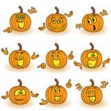 Halloween set of gesticulating orange pumpkins Royalty Free Stock Image