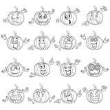 Halloween set of gesticulating pumpkin outlines Stock Photos