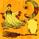 Halloween set with ghost, moon, broom, scroll Stock Photography