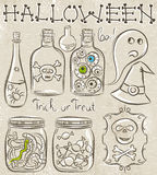 Halloween set with ghost, skull, jar with eyes Stock Images