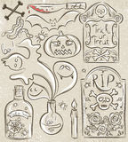 Halloween set with ghost, skull, jar with spider Royalty Free Stock Photo