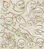 Halloween set with ghost, skull, net and spider Stock Photo