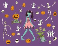 Halloween set. Girl zombies, skeletons, skulls, pumpkins and other Halloween characters. Vector illustration. Royalty Free Stock Photography