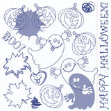 Halloween set. Hand drawn  illustration. Royalty Free Stock Photography