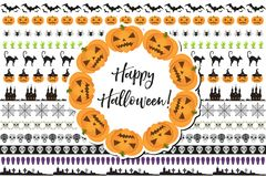 Halloween set of holiday borders decorations. Collection border of elements for your design.  on white Stock Photos