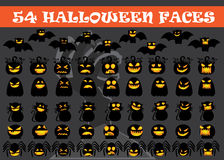 Halloween set icon. Set of Halloween characters including cats bats pumpkin ghost skull and spider in different emotion. EPS file available Stock Images