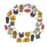 Halloween  set icon. Trick or Treat.Traditional sweets,candies for holiday Halloween.Muffins,cupcakes,cakes decorated in Halloween style.Round banner  on white Stock Photo