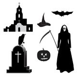 Halloween_set. Set of images for Halloween, gravestone with white cross, black raven, old church, death with scythe, pumpkin, hat, bat isolated on white Vector Illustration