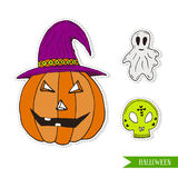 Halloween set with Jack-o-lantern pumpkin, ghost and skull. Cartoon vector illustration. Stickers or patches design . Royalty Free Stock Images