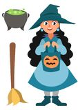 Halloween set. Little witch, pot and broom. Funny cartoon vector Halloween character isolated on the white background.  Stock Photo