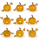 Halloween set of nine gesticulating pumpkins Stock Photography