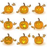 Halloween set of nine gesticulating pumpkins Stock Photography