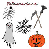 The Halloween set with orange pumpkin, gray ghost, spider web Royalty Free Stock Photography