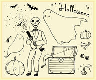 Halloween set outline elements Stock Images