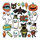 Halloween set of patches in cartoon comic style. Stock Photography
