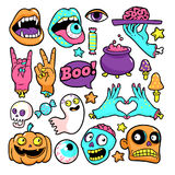 Halloween set of patches in cartoon comic style. Royalty Free Stock Photo