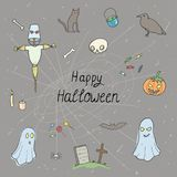 Halloween set pattern. Design with skull, pumpkin, candy, ghost, raven, grave, scarecrow and cat Royalty Free Stock Photography