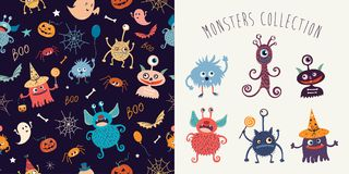 Halloween set with pattern and funny monsters Royalty Free Stock Photos