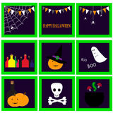Halloween set with pumpkin, potion, ghost and other Stock Photo