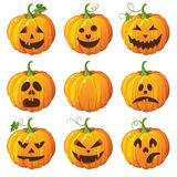 Halloween  set with pumpkins. Royalty Free Stock Photo