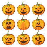 Halloween  set with pumpkins. Royalty Free Stock Photography
