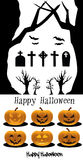 Halloween set Pumpkins Cemetery Stock Photo