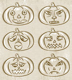 Halloween set with pumpkins Royalty Free Stock Images