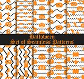 Halloween set of seamless patterns with pumpkins, witches and celebratory symbols. Vector. Illustration Royalty Free Stock Photo