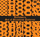 Halloween set of seamless patterns with pumpkins, witches and celebratory symbols. Vector. Illustration Stock Image