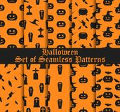 Halloween set of seamless patterns with pumpkins, witches and celebratory symbols. Vector. Illustration Stock Photo